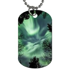Northern Lights In The Forest Dog Tag (one Side)