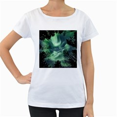 Northern Lights In The Forest Women s Loose Fit T Shirt (white)