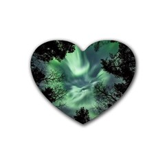 Northern Lights In The Forest Rubber Coaster (heart)