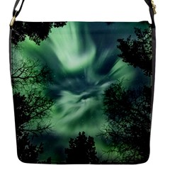 Northern Lights In The Forest Flap Messenger Bag (s)