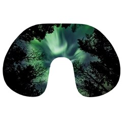 Northern Lights In The Forest Travel Neck Pillows