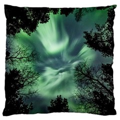 Northern Lights In The Forest Large Flano Cushion Case (one Side)