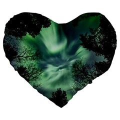 Northern Lights In The Forest Large 19  Premium Flano Heart Shape Cushions