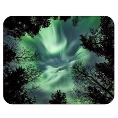 Northern Lights In The Forest Double Sided Flano Blanket (medium)