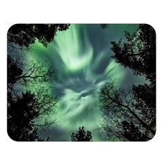 Northern Lights In The Forest Double Sided Flano Blanket (large)