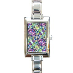 Colorful Modern Floral Print Rectangle Italian Charm Watch
