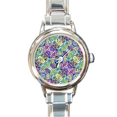 Colorful Modern Floral Print Round Italian Charm Watch