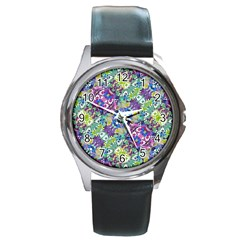 Colorful Modern Floral Print Round Metal Watch
