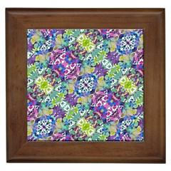 Colorful Modern Floral Print Framed Tiles