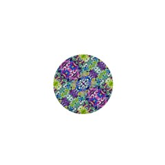 Colorful Modern Floral Print 1  Mini Buttons