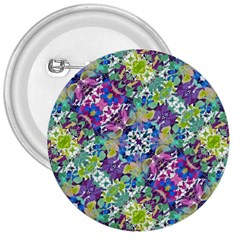 Colorful Modern Floral Print 3  Buttons