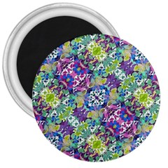 Colorful Modern Floral Print 3  Magnets