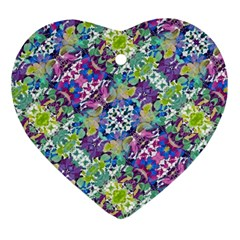 Colorful Modern Floral Print Ornament (heart)