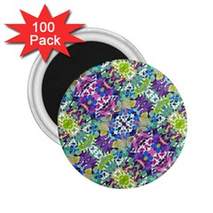 Colorful Modern Floral Print 2 25  Magnets (100 Pack)