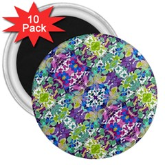 Colorful Modern Floral Print 3  Magnets (10 Pack)