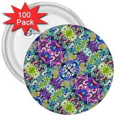 Colorful Modern Floral Print 3  Buttons (100 Pack)