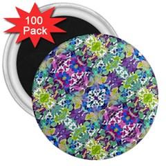 Colorful Modern Floral Print 3  Magnets (100 Pack)