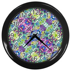 Colorful Modern Floral Print Wall Clocks (black)