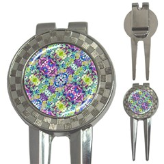 Colorful Modern Floral Print 3 In 1 Golf Divots