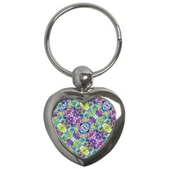 Colorful Modern Floral Print Key Chains (heart)