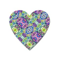 Colorful Modern Floral Print Heart Magnet