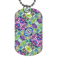 Colorful Modern Floral Print Dog Tag (one Side)