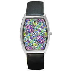 Colorful Modern Floral Print Barrel Style Metal Watch