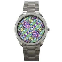 Colorful Modern Floral Print Sport Metal Watch