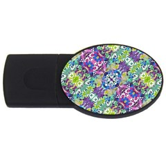 Colorful Modern Floral Print Usb Flash Drive Oval (4 Gb)