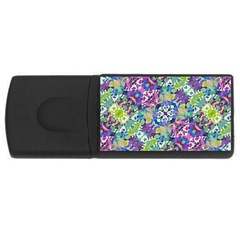 Colorful Modern Floral Print Rectangular Usb Flash Drive