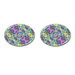 Colorful Modern Floral Print Cufflinks (oval)