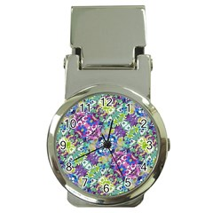 Colorful Modern Floral Print Money Clip Watches