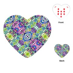 Colorful Modern Floral Print Playing Cards (heart)