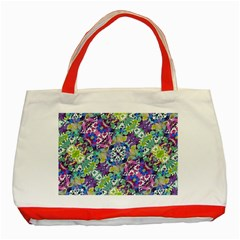 Colorful Modern Floral Print Classic Tote Bag (red)