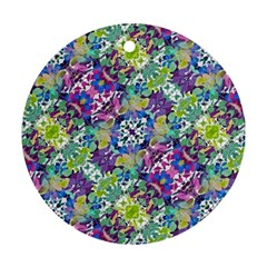 Colorful Modern Floral Print Round Ornament (two Sides)