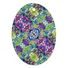 Colorful Modern Floral Print Oval Ornament (two Sides)