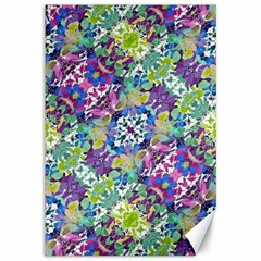 Colorful Modern Floral Print Canvas 12  X 18