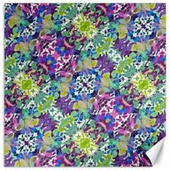 Colorful Modern Floral Print Canvas 16  X 16