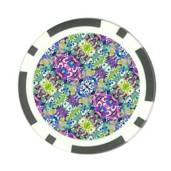 Colorful Modern Floral Print Poker Chip Card Guard