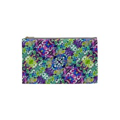 Colorful Modern Floral Print Cosmetic Bag (small)