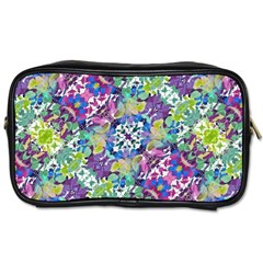 Colorful Modern Floral Print Toiletries Bags 2 Side