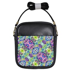 Colorful Modern Floral Print Girls Sling Bags