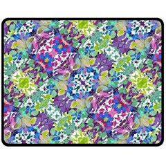 Colorful Modern Floral Print Fleece Blanket (medium)