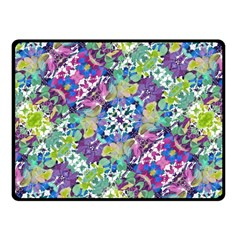 Colorful Modern Floral Print Fleece Blanket (small)