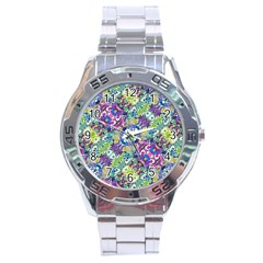 Colorful Modern Floral Print Stainless Steel Analogue Watch