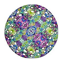 Colorful Modern Floral Print Ornament (round Filigree)