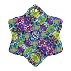 Colorful Modern Floral Print Snowflake Ornament (two Sides)