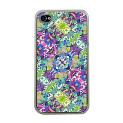 Colorful Modern Floral Print Apple Iphone 4 Case (clear)