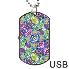 Colorful Modern Floral Print Dog Tag Usb Flash (two Sides)