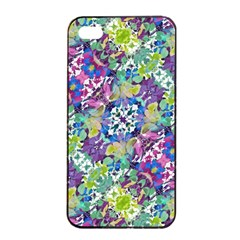 Colorful Modern Floral Print Apple Iphone 4/4s Seamless Case (black)